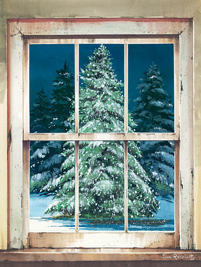 John Rossini JR365 - JR365 - Holiday Window - 12x16 Christmas Tree, Tree, Pine Tree, Snow, Winter, Holidays, Winter, Window Pane from Penny Lane