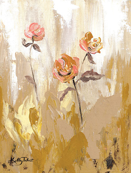 Kelley Talent KEL127 - KEL127 - Gold Petals Dancing in the Wind I - 12x16 Flowers, Abstract, Gold, Blooms from Penny Lane