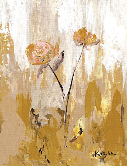 Kelley Talent KEL128 - KEL128 - Gold Petals Dancing in the Wind II - 12x16 Flowers, Abstract, Gold, Blooms from Penny Lane