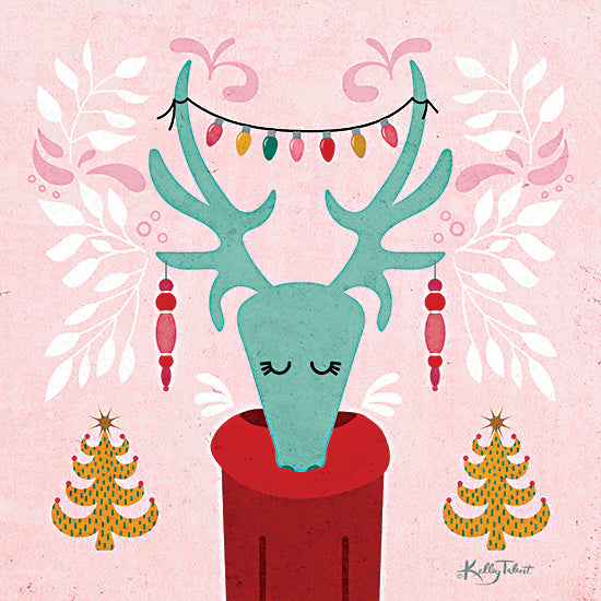 Kelley Talent KEL190 - KEL190 - Christmas Caribou - 12x12 Christmas Caribou, Caribou Head, Abstract, Holidays from Penny Lane