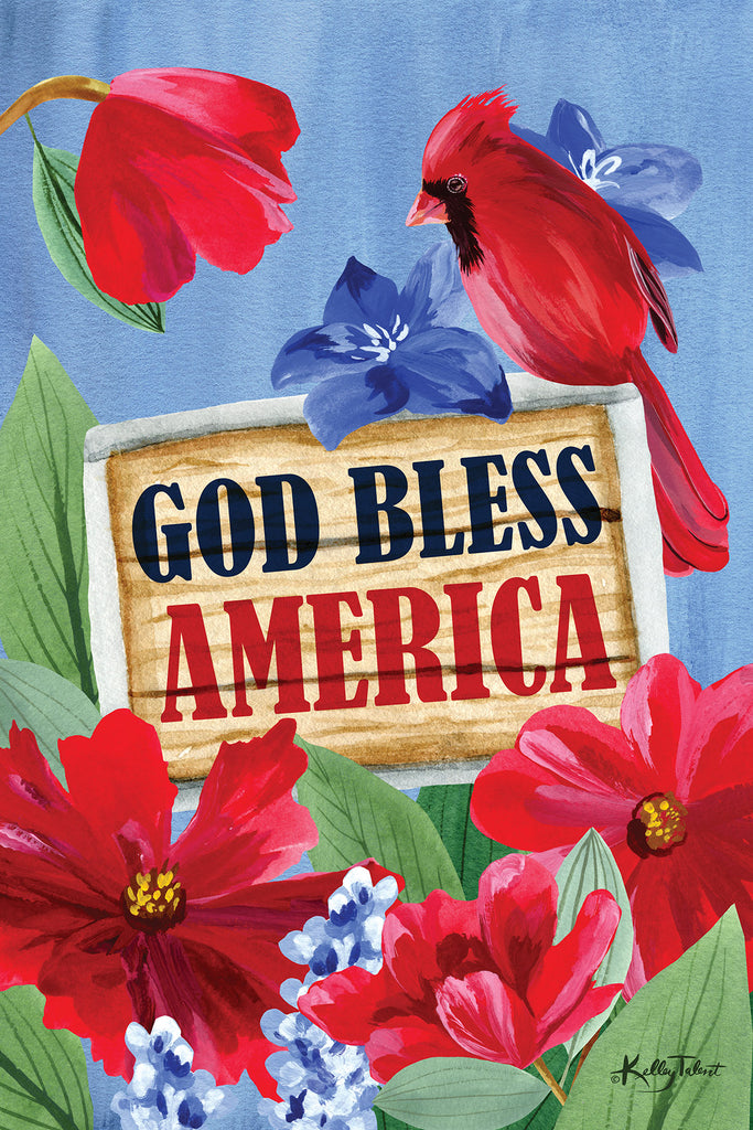 Kelley Talent KEL244 - KEL244 - Bless America - 12x18 God Bless America, Cardinals, Flowers, Red Flowers, Patriotic, Americana, USA, Red, White & Blue, Signs from Penny Lane