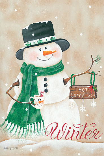 Lisa Kennedy KEN1157 - KEN1157 - Hot Chocolate Winter - 12x18 Snowman, Holidays, Christmas, Hot Chocolate, Winter from Penny Lane