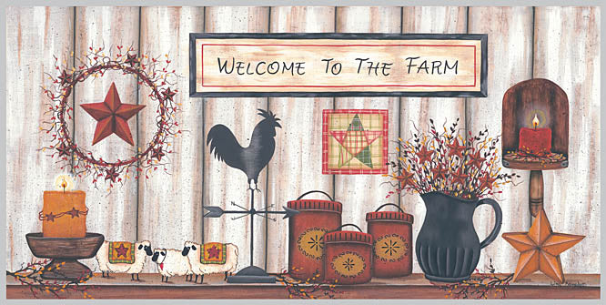 Lisa Kennedy KEN562A - Welcome to the Farm - Quilt, Barn Star, Candles, Berries, Sign, Wreath, Rooster from Penny Lane Publishing