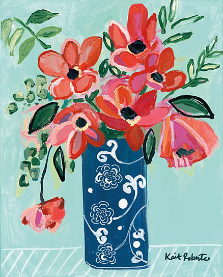 Kait Roberts KR176 - KR176 - In a Blue Moon - 12x16 Blue & White Vase, Flowers, Red Flowers, Bouquet, Blooms from Penny Lane