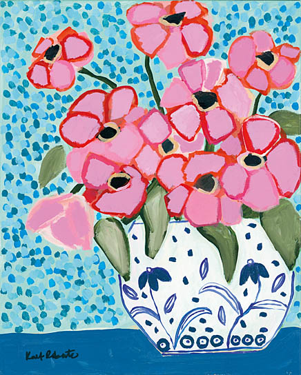 Kait Roberts KR177 - KR177 - Fancy That - 12x16 Blue & White Vase, Flowers, Pink Flowers, Abstract from Penny Lane
