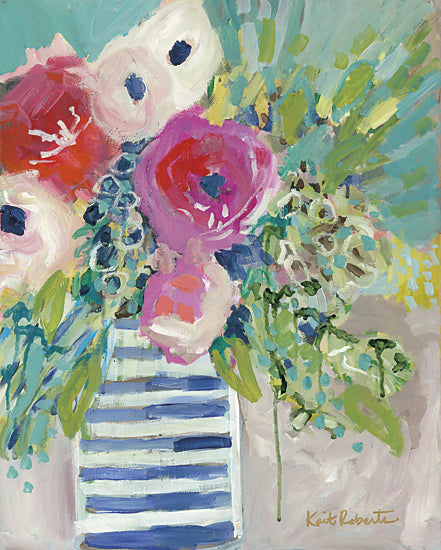 Kait Roberts KR180 - KR180 - Treat Yourself - 12x16 Flowers, Vase, Pink and White Flowers, Bouquet, Blooms from Penny Lane