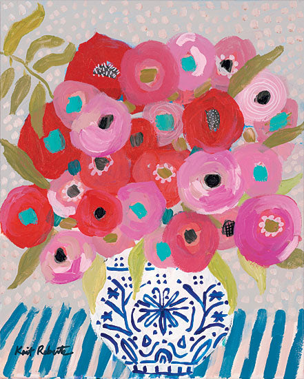 Kait Roberts KR221 - KR221 - Bless You   - 12x16 Blue & White Vase, Flowers, Red Flowers, Bouquet, Blooms from Penny Lane