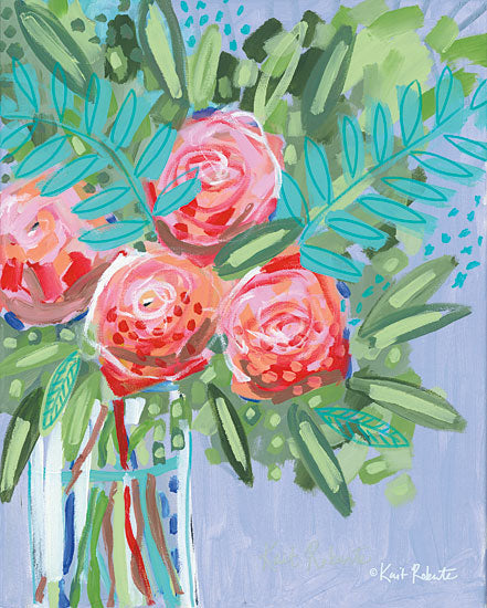 Kait Roberts KR300 - KR300 - We Can Choose to Bloom   - 12x16 Flowers, Pink Flowers, Bouquet, Vase, Abstract from Penny Lane