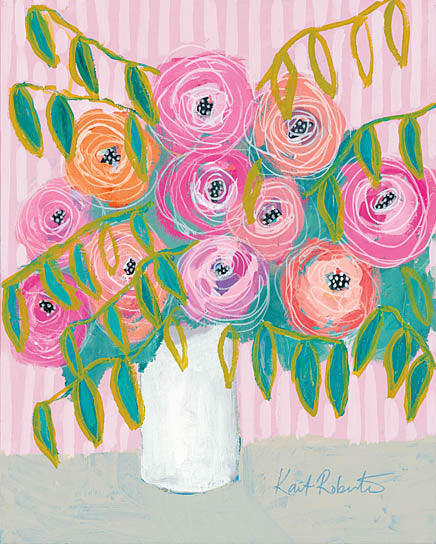 Kait Roberts KR402 - KR402 - Maxine's Best Blooms    - 16x20 Flowers, Vase, Bouquet, Abstract, Pink Flowers from Penny Lane