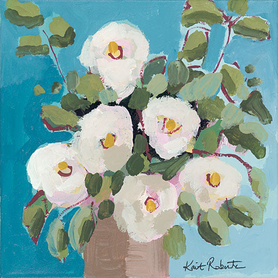 Kait Roberts KR407 - KR407 - I Get Butterflies - 12x12 Abstract, Flowers, White Flowers, Vase from Penny Lane