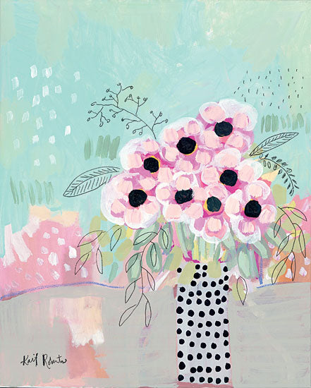 Kait Roberts KR446 - KR446 - Dots & Flowers   - 12x16 Abstract, Flowers, Pink Flowers, Vase from Penny Lane
