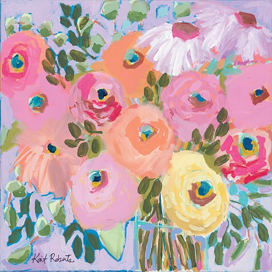 Kait Roberts KR505 - KR505 - Lunch with Maxine - 12x12 Flowers, Pink, Peach, Yellow Flowers, Vase, Abstract from Penny Lane
