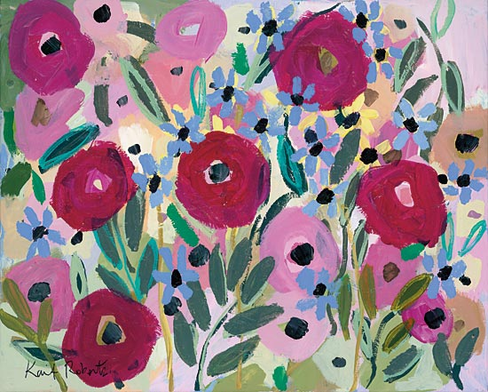 Kait Roberts KR507 - KR507 - Welcome to the Garden - 16x12 Flowers, Abstract, Pink and Purple Flowers from Penny Lane