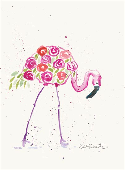 Kait Roberts KR520 - KR520 - Her Name was Rose - 12x16 Flamingo, Flowers, Whimsical from Penny Lane