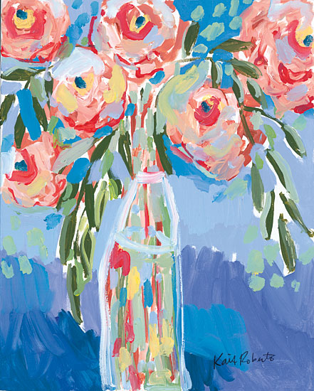 Kait Roberts KR527 - KR527 - Watermelon Blooms - 12x16 Abstract, Flowers, Pink Flowers, Vase from Penny Lane