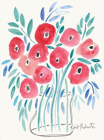 Kait Roberts KR569 - KR569 - Poppin' Poppies - 12x16 Flowers, Vase, Bouquet, Abstract, Modern from Penny Lane
