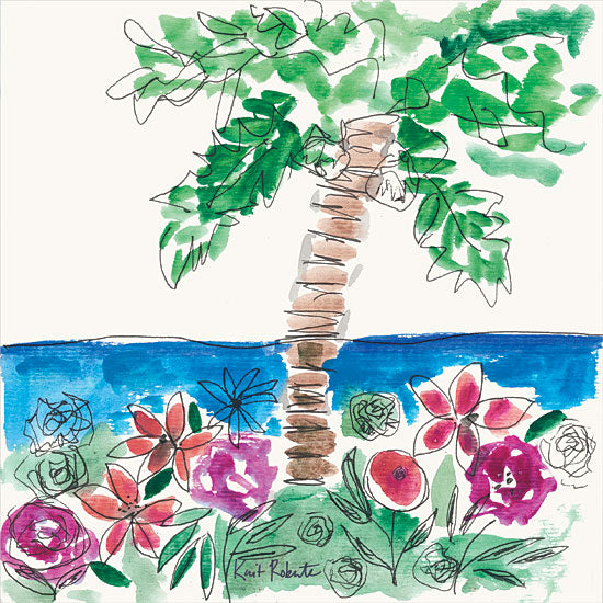 Kait Roberts KR600 - KR600 - Island Dreaming - 12x12 Palm Trees, Ocean, Flowers, Tropical, Abstract, Modern from Penny Lane
