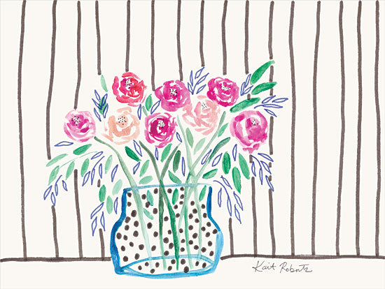 Kait Roberts KR657 - KR657 - Roses are Pink - 16x12 Flowers, Vase, Primitive from Penny Lane