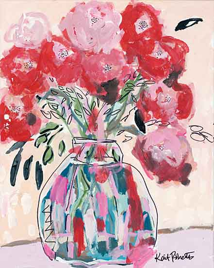 Kait Roberts KR664 - KR664 - Let Your Teardrops Fall - 12x16 Flowers, Pink and Red Flowers, Bouquet, Vase, Abstract, Blooms from Penny Lane