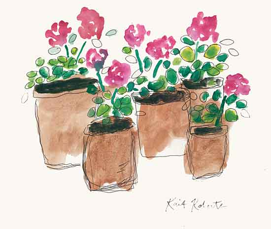 Kait Roberts KR671 - KR671 - Geranium Sunday - 16x12 Abstract, Flowers, Geraniums, Pink Flowers, Clay Pots from Penny Lane