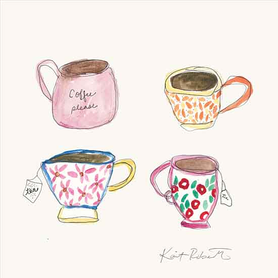 Kait Roberts KR678 - KR678 - Morning Routine - 12x12 Tea Cups, Coffee Cups, Tea, Coffee, Kitchen, Vintage, Old Fashioned, Abstract from Penny Lane