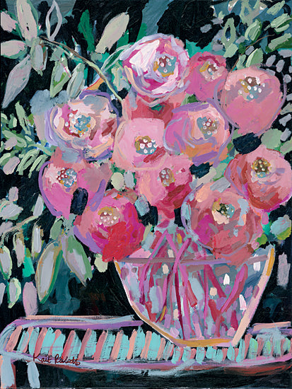 Kait Roberts KR682 - KR682 - Entryway Bouquet  - 12x16 Abstract, Flowers, Vase, Pink Flowers, Blooms, Bouquet, Blossoms from Penny Lane