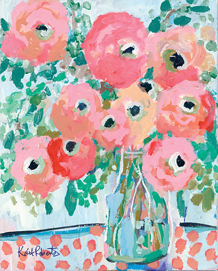 Kait Roberts KR684 - KR684 - Brunch Bouquet in Light - 12x16 Flowers, Pink and Red Flowers, Bouquet, Vase, Abstract, Blooms from Penny Lane