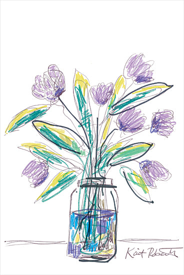 Kait Roberts KR714 - KR714 - Electric Tulips - 12x18 Abstract, Purple Flowers, Vase, Boutique, Blooms, Botanical from Penny Lane