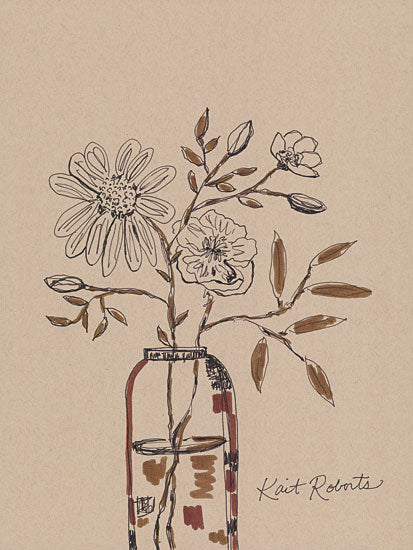 Kait Roberts KR726 - KR726 - Time Makes Us Grow - 12x16 Flowers, Jar, Sketch, Primitive from Penny Lane