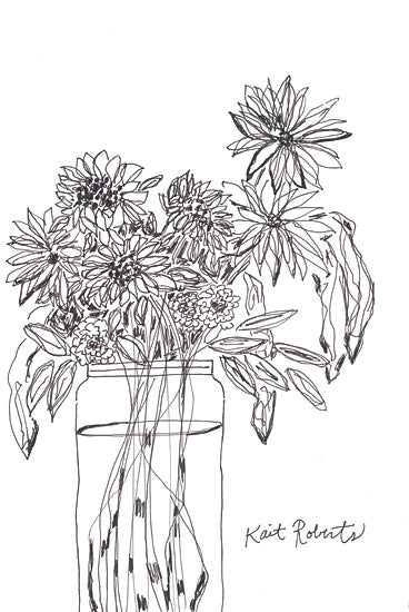Kait Roberts KR729 - KR729 - Farm Grower - 12x18 Flowers, Bouquet, Glass Vase, Sketch, Black & White from Penny Lane