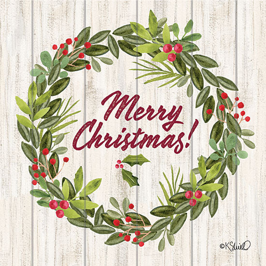 Kate Sherrill KS152 - KS152 - Merry Christmas Wreath    - 12x12 Christmas, Wreath, Signs, Typography, Christmas Ivy, Wood Planks from Penny Lane