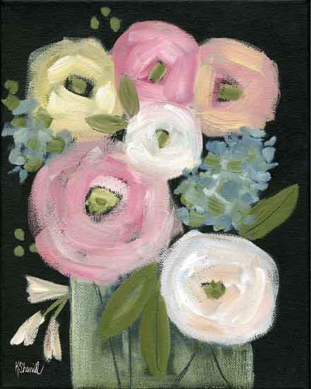 Kate Sherrill KS159 - KS159 - Colorful Blooms - 12x16 Abstract, Flowers, Pink Flowers, Glass Vase, Bouquet from Penny Lane