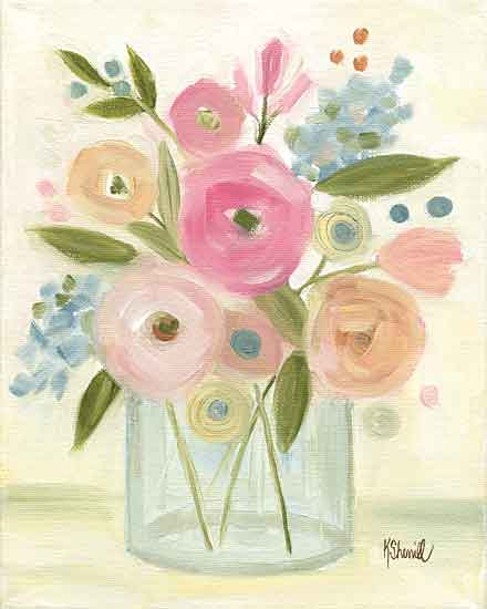 Kate Sherrill KS161 - KS161 - Bright Bouquet - 12x16 Abstract, Flowers, Pink Flowers, Vase, Bouquet from Penny Lane