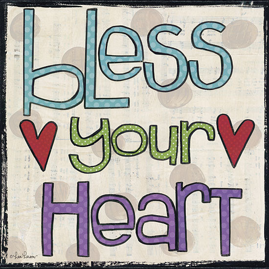 Lisa Larson LAR339 - Bless Your Heart - Heart, Typography, Signs from Penny Lane Publishing