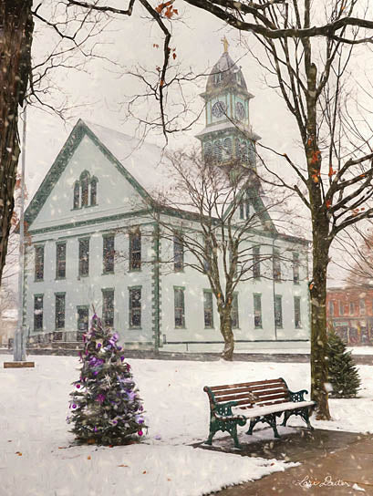 Lori Deiter LD1097 - Christmas in Coudersport - Holiday, Christmas Tree, Bench, Church from Penny Lane Publishing