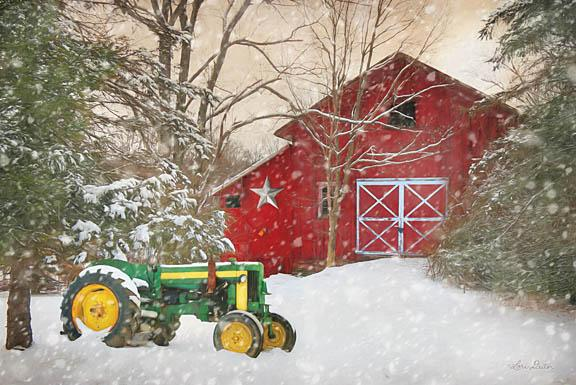 Lori Deiter LD1114 - Winter at the Barn - Tractor, Barn, Snow, Trees from Penny Lane Publishing