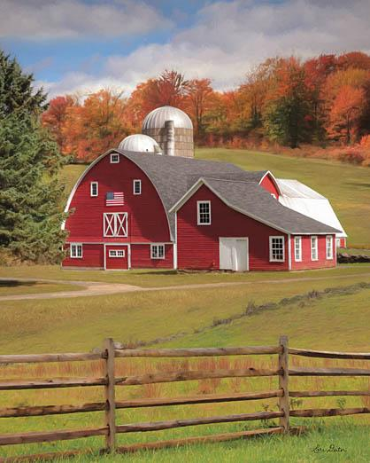Lori Deiter LD1118 - One Flag, One Land - Barn, Farm, Landscape, Fence, Trees from Penny Lane Publishing