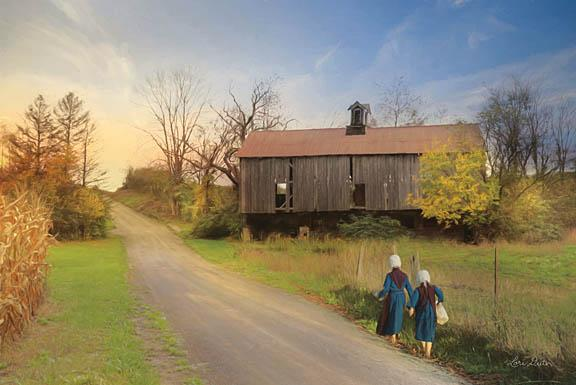 Lori Deiter LD1141 - Barefoot Country Girls - Amish, Girls, Farm, Road from Penny Lane Publishing