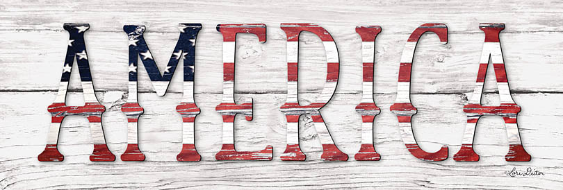 Lori Deiter LD1323A - LD1323A - America - 36x12 American, Wood Background, Red, White & Blue, Americana, Signs from Penny Lane