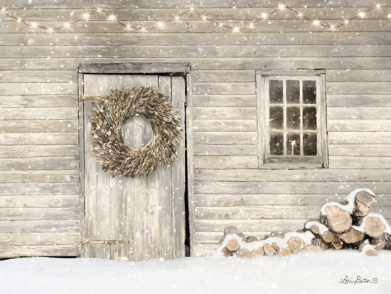 Lori Deiter LD1474 - LD1474 - Old Farm Christmas - 16x12 Barn, Firewood, Snow, Winter, Barn Wreath, Window, Candle from Penny Lane