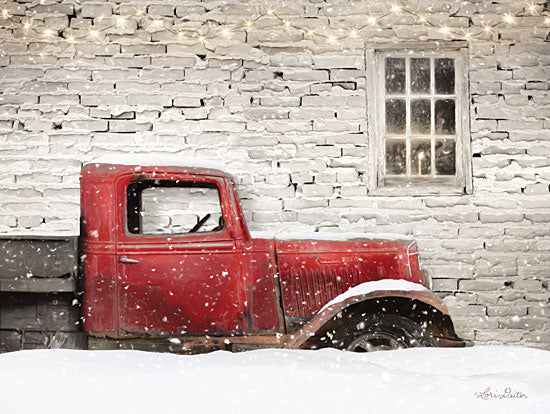 Lori Deiter LD1494 - LD1494 - Winter Parking Spot - 16x12 Barn, Truck, Vintage, Candle, Window, Snow, Winter from Penny Lane