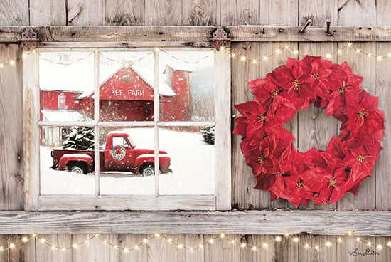 Lori Deiter LD1592 - LD1592 - Poinsettia Wreath Window View    - 18x12 Barn, Poinsettias, Truck, Vintage, Wreath, Christmas Trees, Tree Farm from Penny Lane