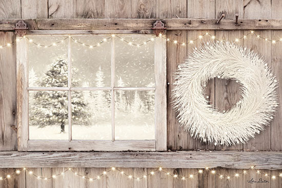 Lori Deiter LD1593 - LD1593 - Winter White View   - 18x12 White Wreath, Christmas Lights, Trees, Snow, Winter from Penny Lane