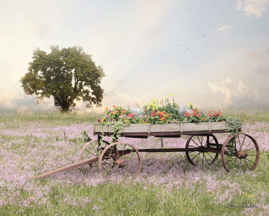 Lori Deiter LD1661 - LD1661 - Flower Wagon at Sunset   - 16x12 Photography, Tree, Flower Wagon, Flower Field, Landscape from Penny Lane