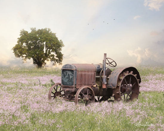 Lori Deiter LD1665 - LD1665 - Tractor at Sunset   - 16x12 Landscape, Tractor, Flower Field, Sunset, Tree from Penny Lane
