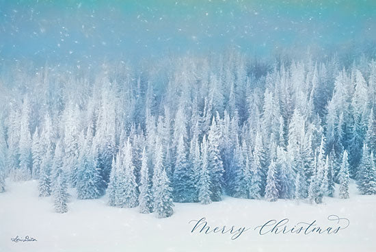 Lori Deiter LD1834 - LD1834 - Snowy Turquoise Forest      - 18x12 Holidays, Blue and White, Merry Christmas, Forest, Snow, Winter from Penny Lane