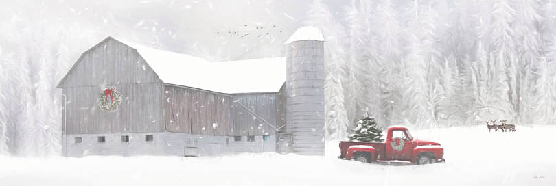 Lori Deiter LD1860A - LD1860A - Christmas on the Farm - 36x12 Winter, Snow, Farm, Barn, Red Truck, Christmas Tree, Deer from Penny Lane