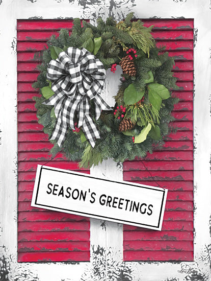 Lori Deiter LD1870 - LD1870 - Christmas Shutters with Wreath I - 12x16 Holidays, Shutters, Buffalo Plaid, Bow, Season's Greetings, Rustic, Wreath from Penny Lane