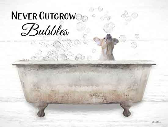 Lori Deiter LD1933 - LD1933 - Never Outgrow Bubbles - 16x12 Signs, Typography, Bubble Bath, Bathtub, Dog, Humor from Penny Lane