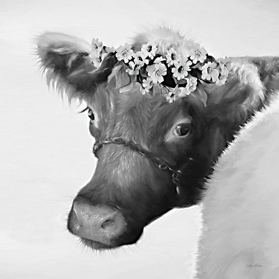 Lori Deiter LD2109 - LD2109 - Brown Cow with Flowers - 12x12 Cow, Brown Cow, Flowers, Floral Crown, Sepia, Photography from Penny Lane